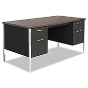 Alera® Double Pedestal Steel Desk, Metal Desk, 60w x 30d x 29.5h, Mocha/Black