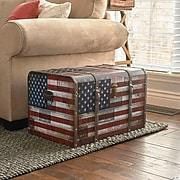 Household Essentials Jumbo Americana Decorative Home Storage Trunk (9203-1)