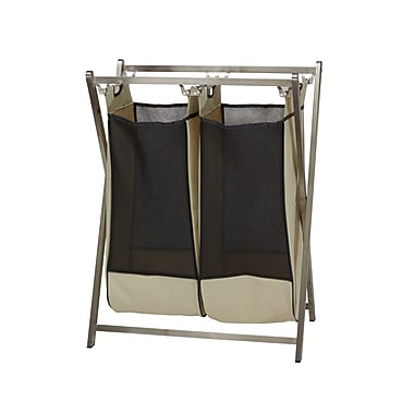 Household Essentials Double Stainless Industrial 2-Bag Laundry Hamper Sorter (7091-1)