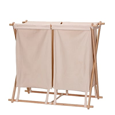 Household Essentials Collapsible Wood X-Frame Double Laundry Hamper Sorter (6786-1)