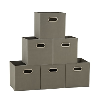 //.staples-3p.com/s7/is/  sc 1 st  Staples & Household Essentials 6 Ct Open Fabric Cube Storage Bins (84-1) | Staples