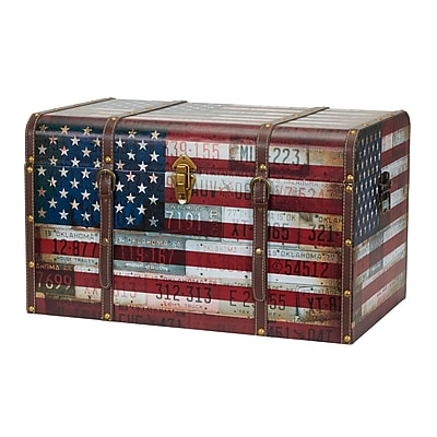 Household Essentials Jumbo Americana Decorative Home Storage Trunk (9203-1)