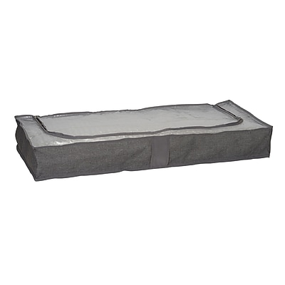 Household Essentials Gray Linen Zippered Underbed Storage Bag With Plastic Top (66462)