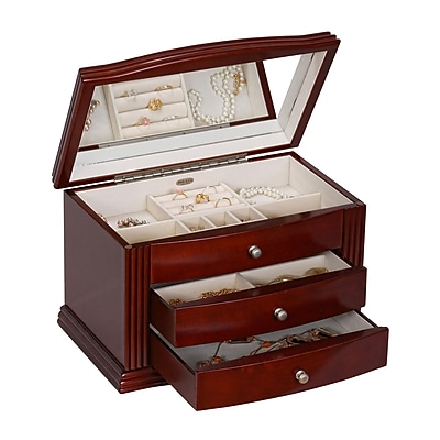Mele & Co. Georgia Wooden Jewelry Box in Walnut Finish