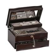Mele & Co. Davina Locking Wooden Jewelry Box in Mahogany Finish