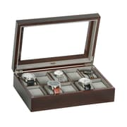 Mele & Co. Hudson Glass Top Wooden Watch Box in Mahogany Finish