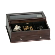 Mele & Co. Hampden Men's Glass Top Wooden Dresser Top Valet in Mahogany Finish