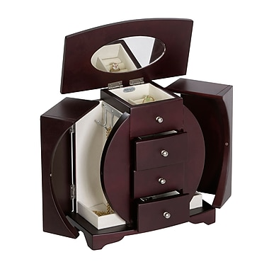 Mele & Co. Simone Oval Cut-Out Upright Wooden Jewelry Box in Mahogany Finish