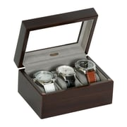 Mele & Co. Granby Glass Top Wooden Watch Box in Mahogany Finish