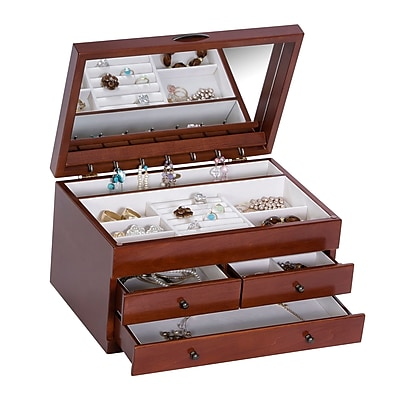 compare mele co brayden wooden jewelry box walnut