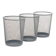 Seville Classics 6 Gallon Mesh Wastebasket; 3-Pack, Silver (WEB294)