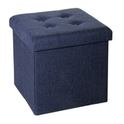 Seville Classics Folding Tufted Storage Ottoman, Midnight Blue (WEB352)