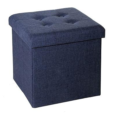 Seville Classics Folding Tufted Storage Ottoman, Midnight Blue (WEB352)