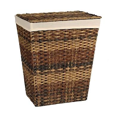 Seville Classics Handwoven Lidded Laundry Hamper with Canvas Liner, Mocha (WEB471)