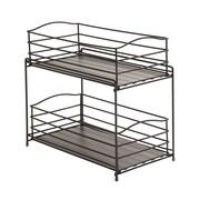 Seville Classics 2-Tier Sliding Basket Cabinet Organizer; Gun Metal (SHE14144)