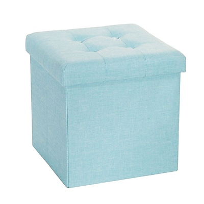 Seville Classics Folding Tufted Storage Ottoman, Aqua (WEB369)