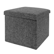Seville Classics Folding Storage Ottoman, Charcoal Gray (WEB256)