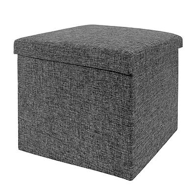 Seville Classics Folding Storage Ottoman, Charcoal Gray (WEB256)