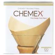 Chemex Bonded Unbleached Pre-folded Square Coffee Filters, 100 Count (FSU-100)