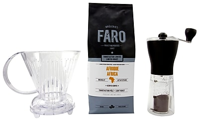 Unusual Coffee & Accessories Bundle - Faro Coffee Beans, Abid Clever Brewer & Mini Mill Coffee Grinder, 3/Pack (BDL0006-CP1)