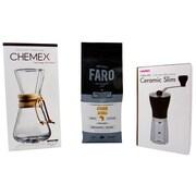 Single Farm Unusual Coffee Pack - Faro Medium Roast Coffee Bean, Chemex Pour over & Mini Grinder, 3/Pack (BDL0003-CP1)
