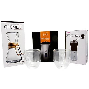 Specialist Coffee Maker Kit - Chemex 3-Cup Coffeemaker, Mini Grinder, JavaFly Mug, Frother & Steamer, 4/Pack (BDL0001-CP1)