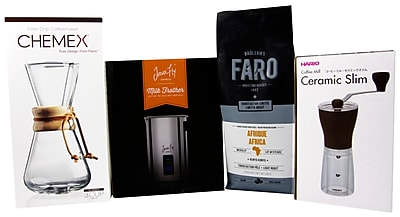 Perfectionist Coffee & Accessories - Faro Coffee Beans, Chemex Pour Over, Grinder & Frother/Steamer, 4/Pack (BDL0002-CP1)