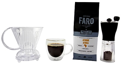 Specialist Coffee & Accessories - Faro Coffee Beans, Abid Clever Brewer, Mini Grinder & Glass Mug, 4/Pack (BDL0005-CP1)