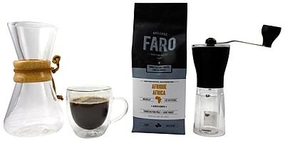 Medium Roast Coffee Pack - Faro Coffee Beans, Chemex Pour Over, Coffee Grinder & Bistro Glass Mug, 4/Pack (BDL0004-CP1)