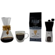 Medium Roast Coffee Pack - Faro Coffee Beans, Chemex Pour Over, Coffee Grinder & Bistro Glass Mug, 4/Pack (BDL0004-CP1)