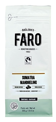 Faro Sumatra Mandheling Whole Coffee Beans (10oz) 100% Arabica Beans Certified Organic And Fairtrade (P-30801)