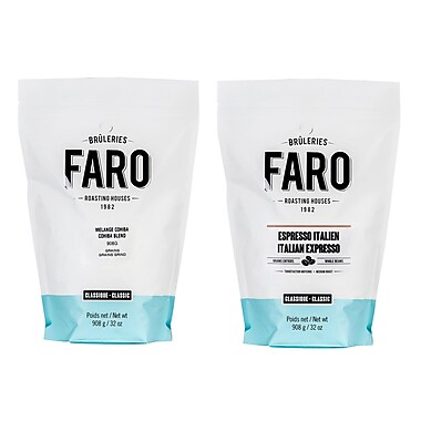 Faro Arabica and Robusta Blend Medium Roast Classic Cohiba Dolce and Italian Espresso Whole Coffee Beans Pack, 2/Pack