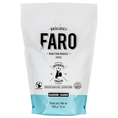 Faro Classic Authentic Italian Espresso Specialty Coffee (2lbs) Fair Trade Certified Organic Medium Roast Whole Bean Coffee