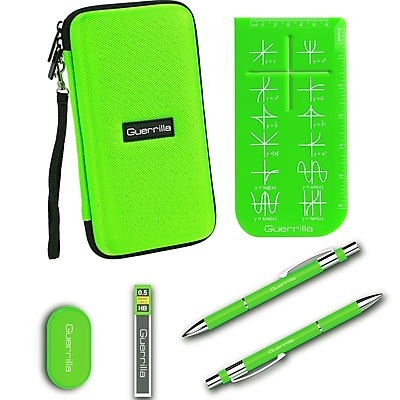 Guerrilla Hard Travel Case for ALL Graphing Calculators + Guerrilla's Essential Calculator Accessory Kit, Green
