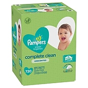 Pampers Unscented Complete Clean Baby Wipes, 720 Wipes/Pouch, 9 Pouches/Carton (75461)