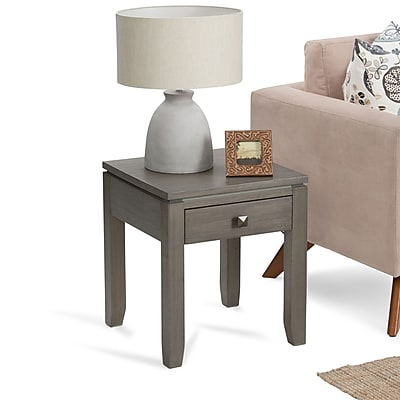 Simpli Home Cosmopolitan End Side Table in Farmhouse Grey (INT-AXCCOS-END-FG)