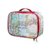 Lunch Bag with NYC Subway Map, red trim, insulated