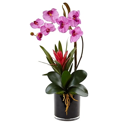 Nearly Natural Orchid and Bromeliad in Glossy Black Cylinder (1437-MA)