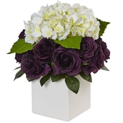 Nearly Natural Hydrangea and Rose Cube Planter (1460-PC)