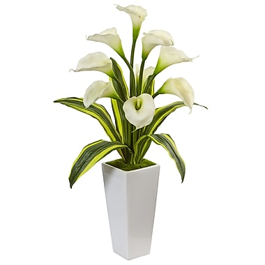Nearly Natural Callas with Tropical Leaves in Glossy Planter (1462-WH)