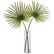 "Nearly Natural 49""H Fan Palm Arrangement in Clear Cylinder Vase (1474)"