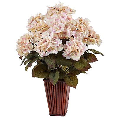 Nearly Natural Hydrangea in Bamboo Planter (1476-CP)