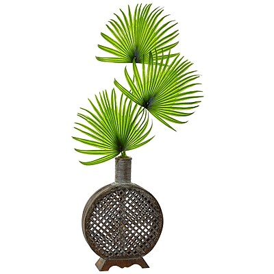 Nearly Natural Fan Palm in Open Weave Vase (1477)