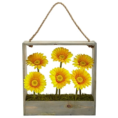 Nearly Natural Gerber Daisy Garden in Hanging Frame (1482-YL)