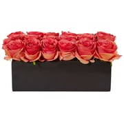 Nearly Natural Roses in Rectangular Planter (1487-DP)