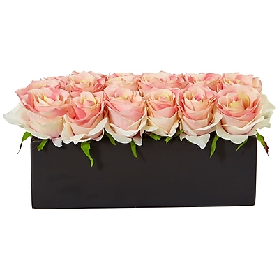 Nearly Natural Roses in Rectangular Planter (1487-LP)