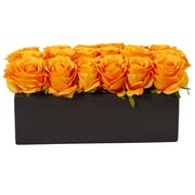 Nearly Natural Roses in Rectangular Planter (1487-OY)