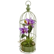 Nearly Natural Cattleya Orchid Arrangement in Bird Cage (1492-PP)