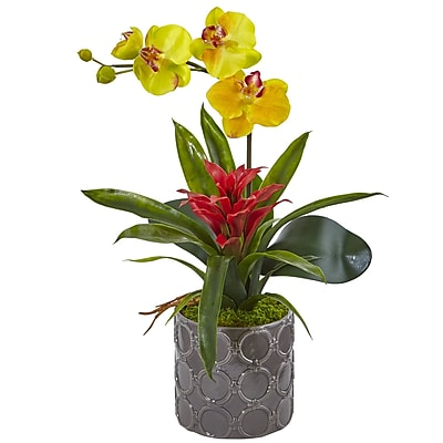 Nearly Natural Mini Phalaenopsis Orchid and Bromeliad in Gray Vase (1493-YL)