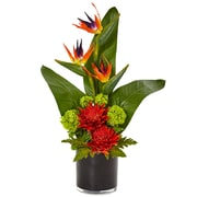 Nearly Natural Bird of Paradise Tropical Arrangement in Black Vase (1512-OR)